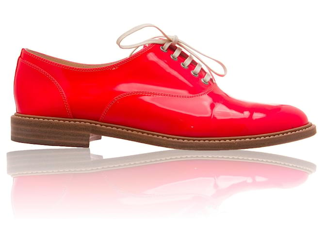 Christian Louboutin Neon Pink Havana Flats Leather Patent leather  ref.356354