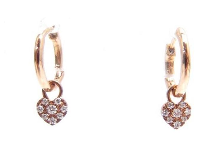 NEW DJULA CREOLE HEART ROSE GOLD EARRING 18K AND DIAMONDS EARRINGS Golden Pink gold  ref.357794