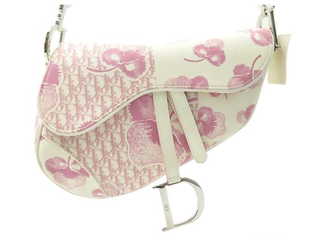 NEW CHRISTIAN DIOR SADDLE HANDBAG IN WHITE PINK CANVAS HAND BAG Cloth  ref.357830