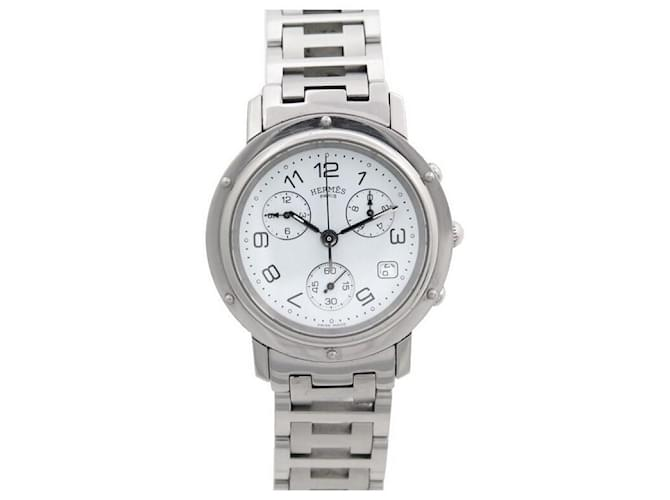 Hermès HERMES CLIPPER CL WATCH1.910 38 MM CHRONOGRAPH QUARTZ STEEL WATCH Silvery  ref.357865