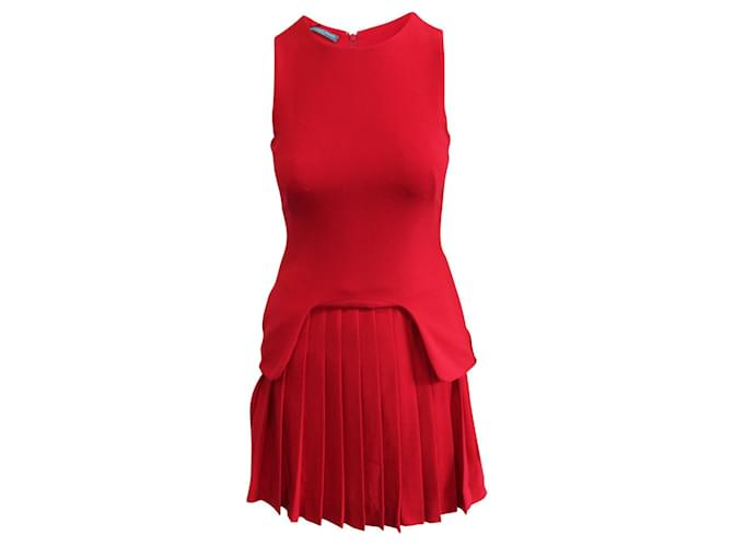 Alexander Mcqueen Red Pleated Dress Acetate  ref.360130