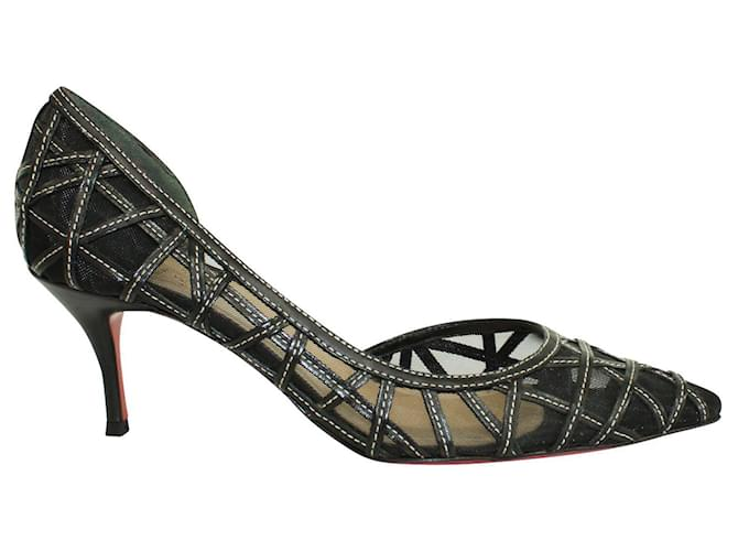 Christian Louboutin Lace Pointed Toe Heels Black Leather  ref.360848