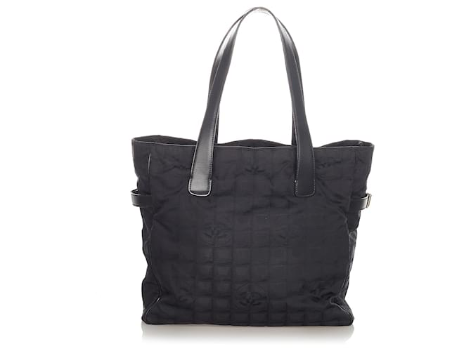 Chanel Black New Travel Line Nylon Tote Bag Leather Pony-style calfskin Cloth  ref.363792