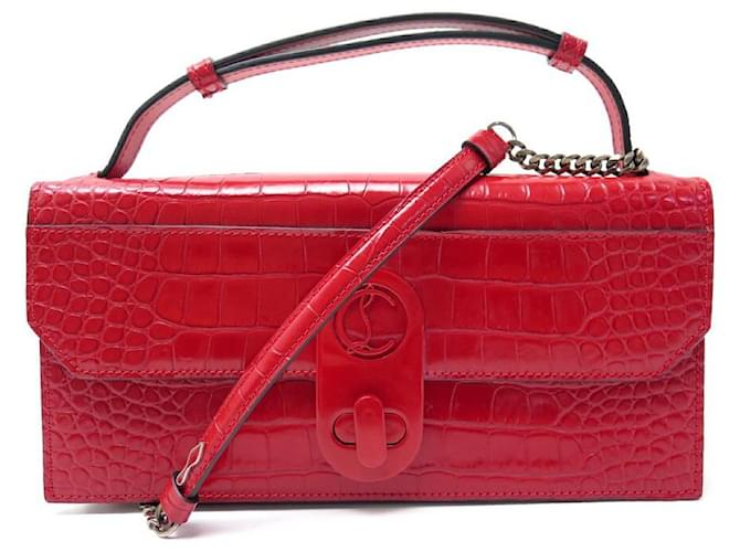 NEW CHRISTIAN LOUBOUTIN ELISA BAGUETTE BANDOULIERE CROCO LEATHER Red  ref.365096