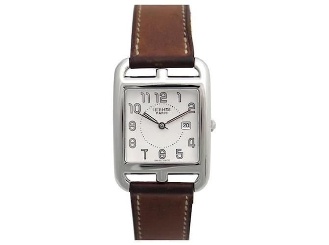 Hermès HERMES CAPE COD GM CC WATCH2.710 29 MM STEEL QUARTZ + STEEL WATCH BOX Silvery  ref.365236