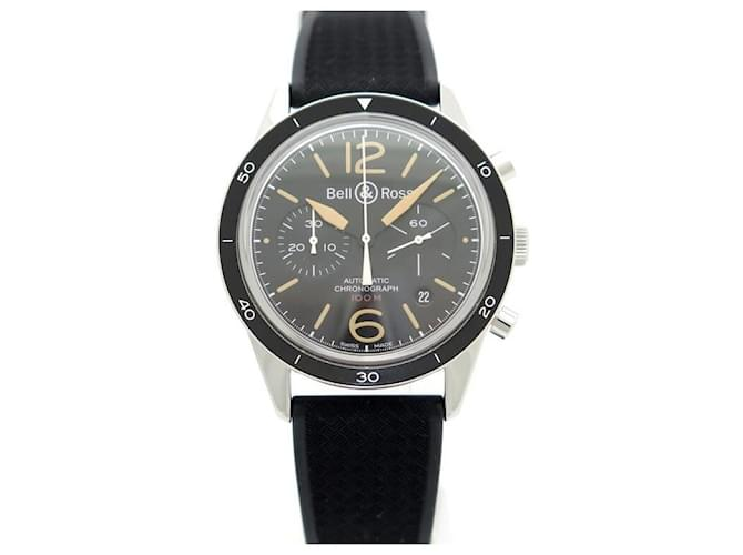 NEW BELL & ROSS SPORT HERITAGE BR WATCH126 Chronograph 43 MM + FULL SET Black Steel  ref.365244
