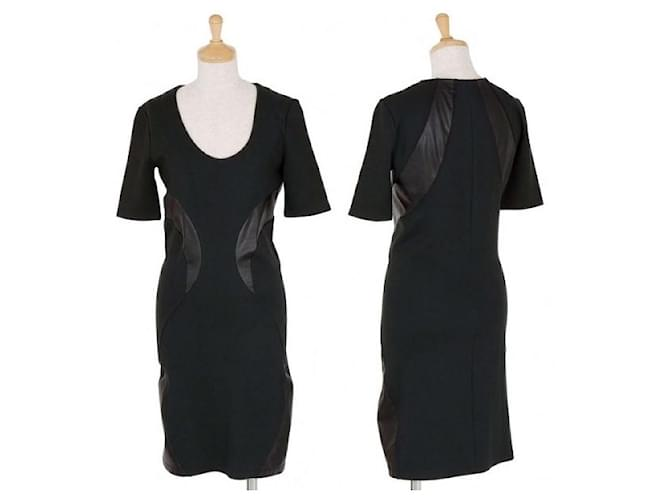[Used] ALEXANDER McQUEEN Synthetic Leather Curve Switching Stretch Dress Black S Nylon Rayon Polyurethane  ref.365339