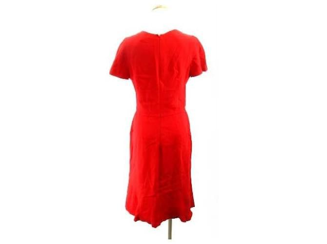 [Used] ALEXANDER MCQUEEN One-piece Dress Knee Length Short Sleeve Red IBS91 Silk Rayon  ref.366778
