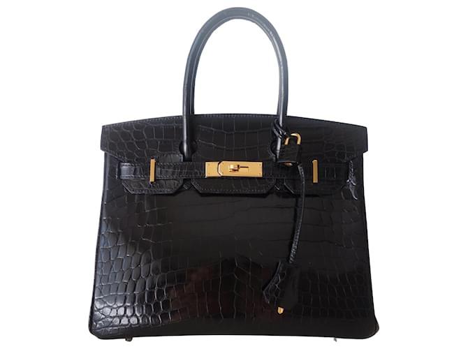 Hermès HERMES BIRKIN BAG 30 crocodile Black Exotic leather  ref.369070