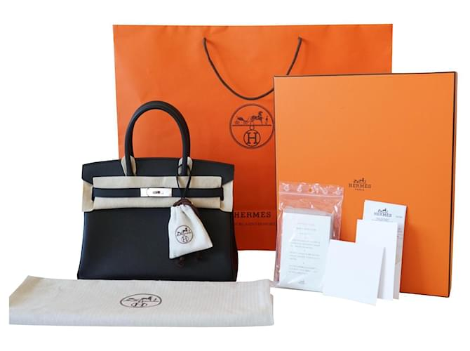 Birkin Hermès Handbags Black Leather  ref.371864