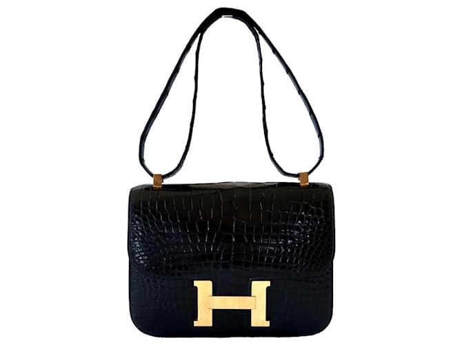Hermès Handbags Black Exotic leather  ref.372195