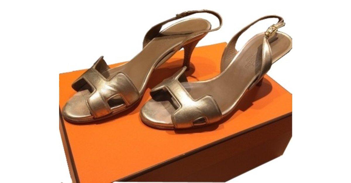 da3534bdfab Hermès Sandals Sandals Leather Golden ref.5345 - Joli Closet
