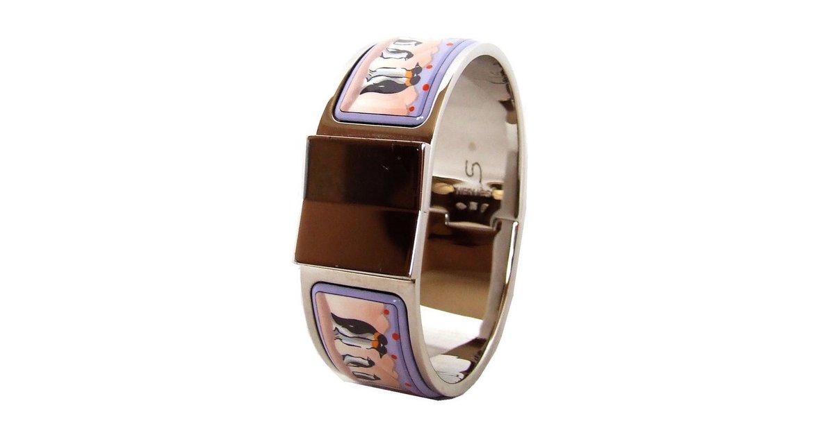 bracelets herm s clic clac plaqu argent multicolore joli closet. Black Bedroom Furniture Sets. Home Design Ideas