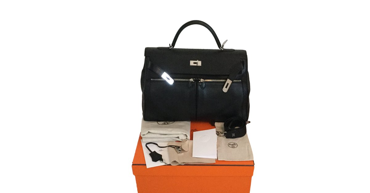 08508ef26241 Hermès Kelly LAKIS 40 Handbags Leather Black ref.17881 - Joli Closet