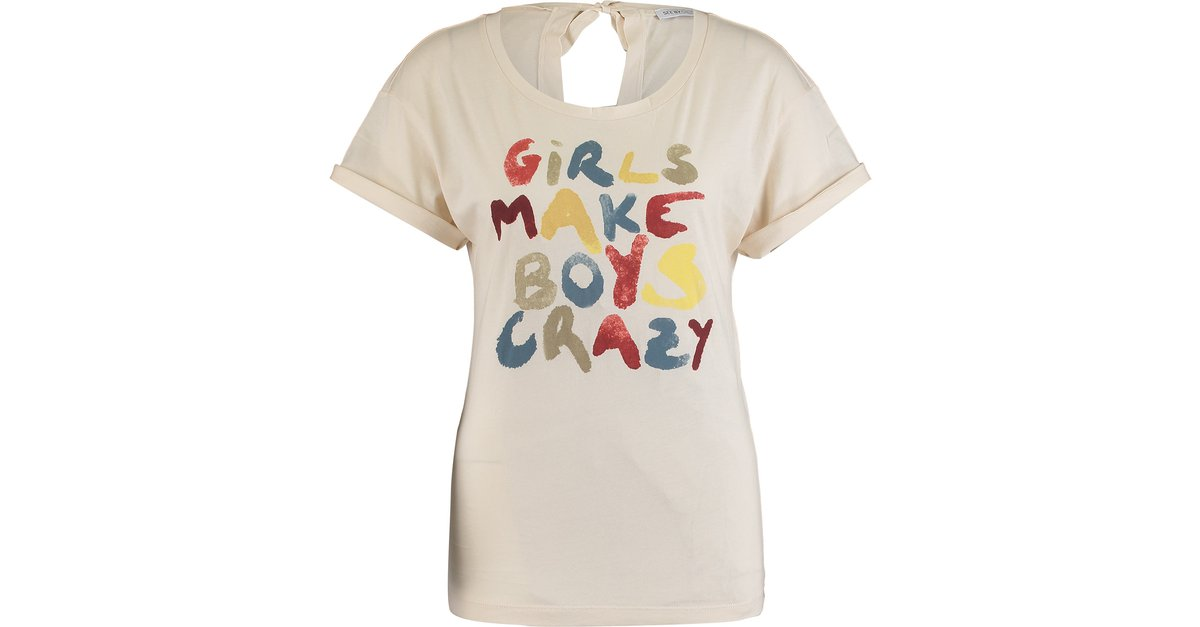 fad4cb7fa8436 See by Chloé Girls make boys crazy cotton tshirt Tops Cotton Cream ref.21007  - Joli Closet