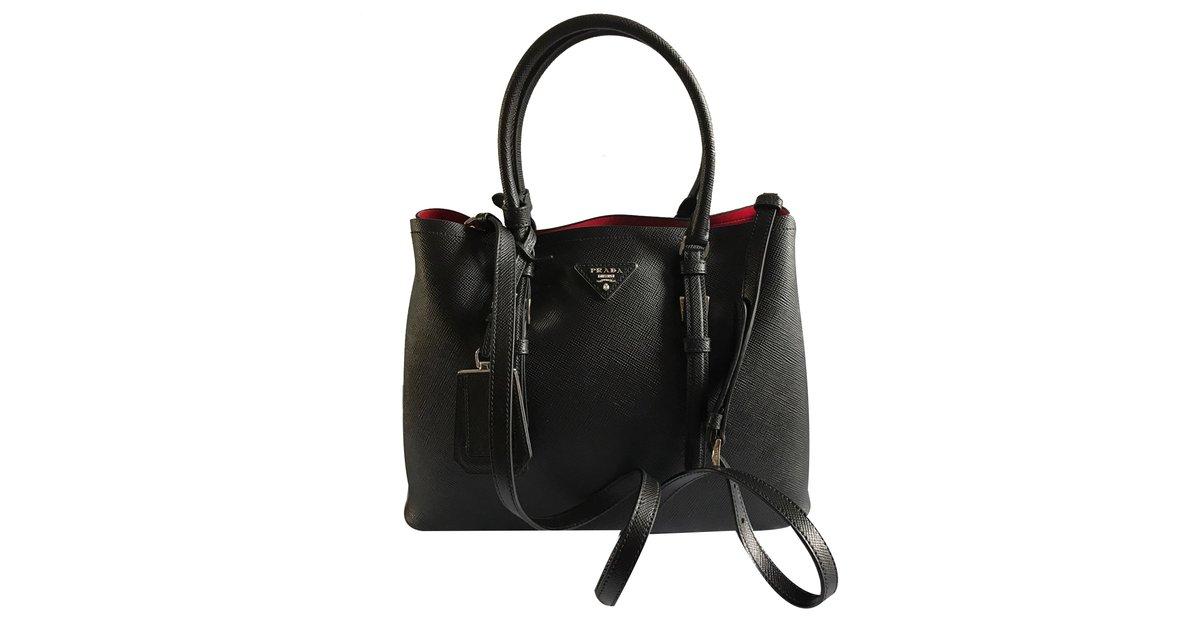 e1b0a3a65a Prada Double bag Handbags Leather Black ref.31620 - Joli Closet