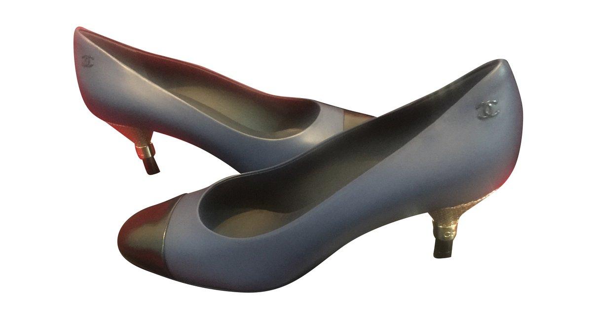 654e462063b8 Chanel Heels Flats Leather Blue ref.41184 - Joli Closet