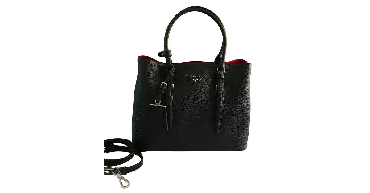 6b8aa93812e Prada Prada double bag saffiano Handbags Leather Black ref.48985 ...