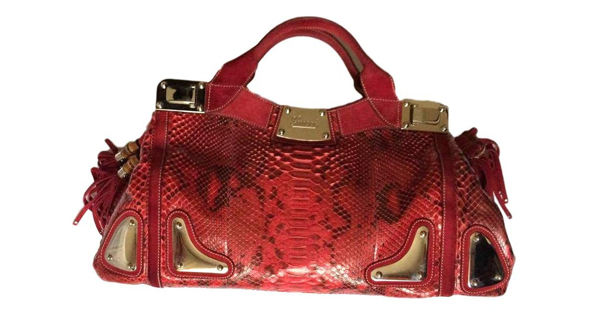 Gucci Gucci Race Handbags Exotic Leather Python Red Ref