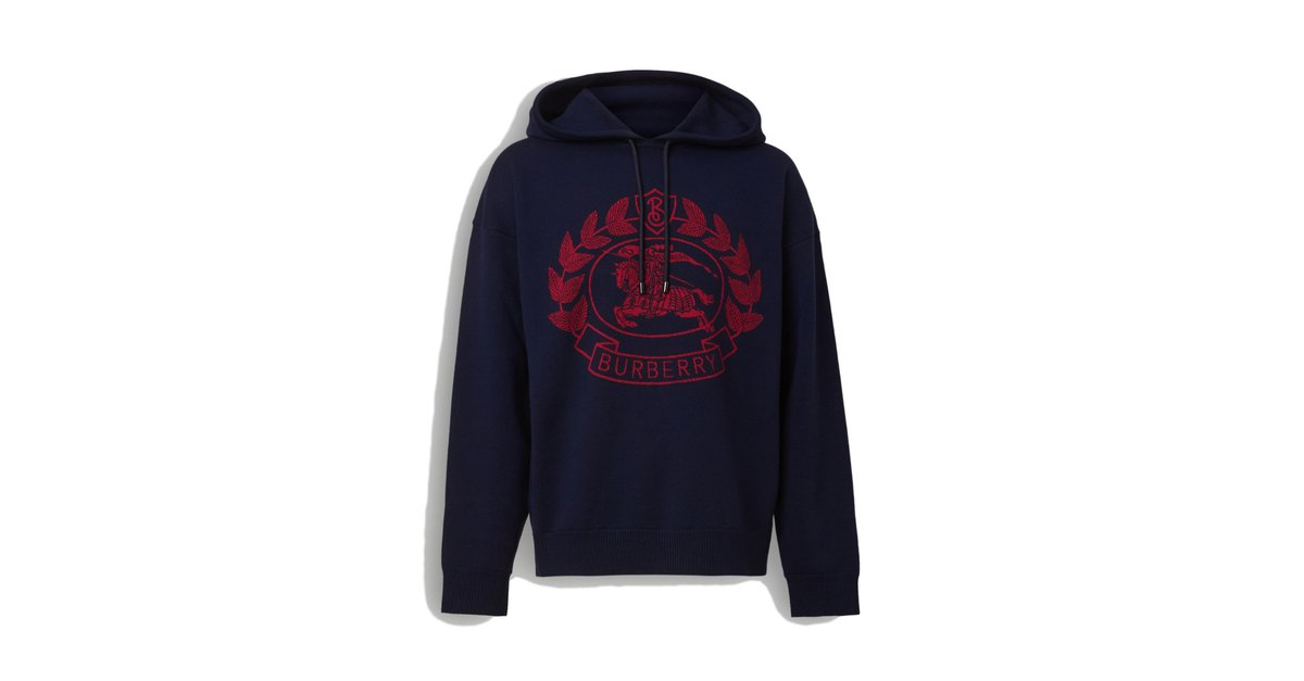 Burberry burberry Sweat shirt à capuche en jacquard de laine mérinos mélangée avec écusson Sweaters Wool Red,Blue ref.86136