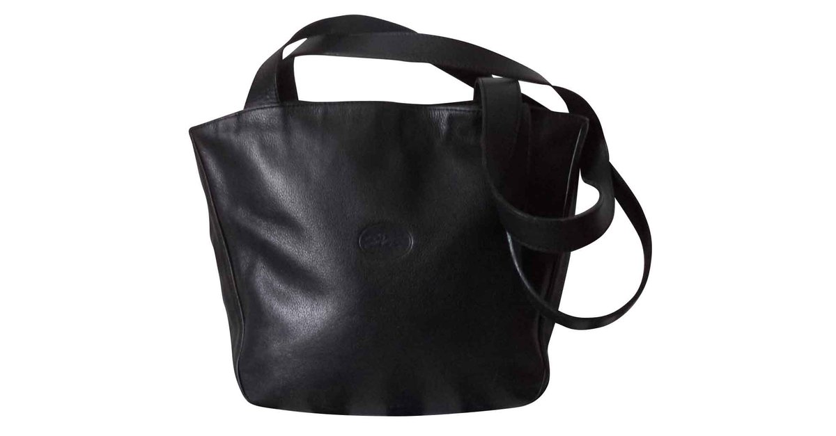 083c03d2ff79 Longchamp LEATHER HAND BAG Handbags Leather Black ref.102009 - Joli Closet