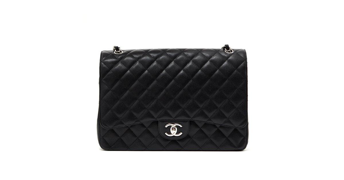 Sacs à main Chanel Grand Sac Classic Black Timeless Caviar Cuir Noir  ref.103618 - Joli Closet 1e476c0dc01