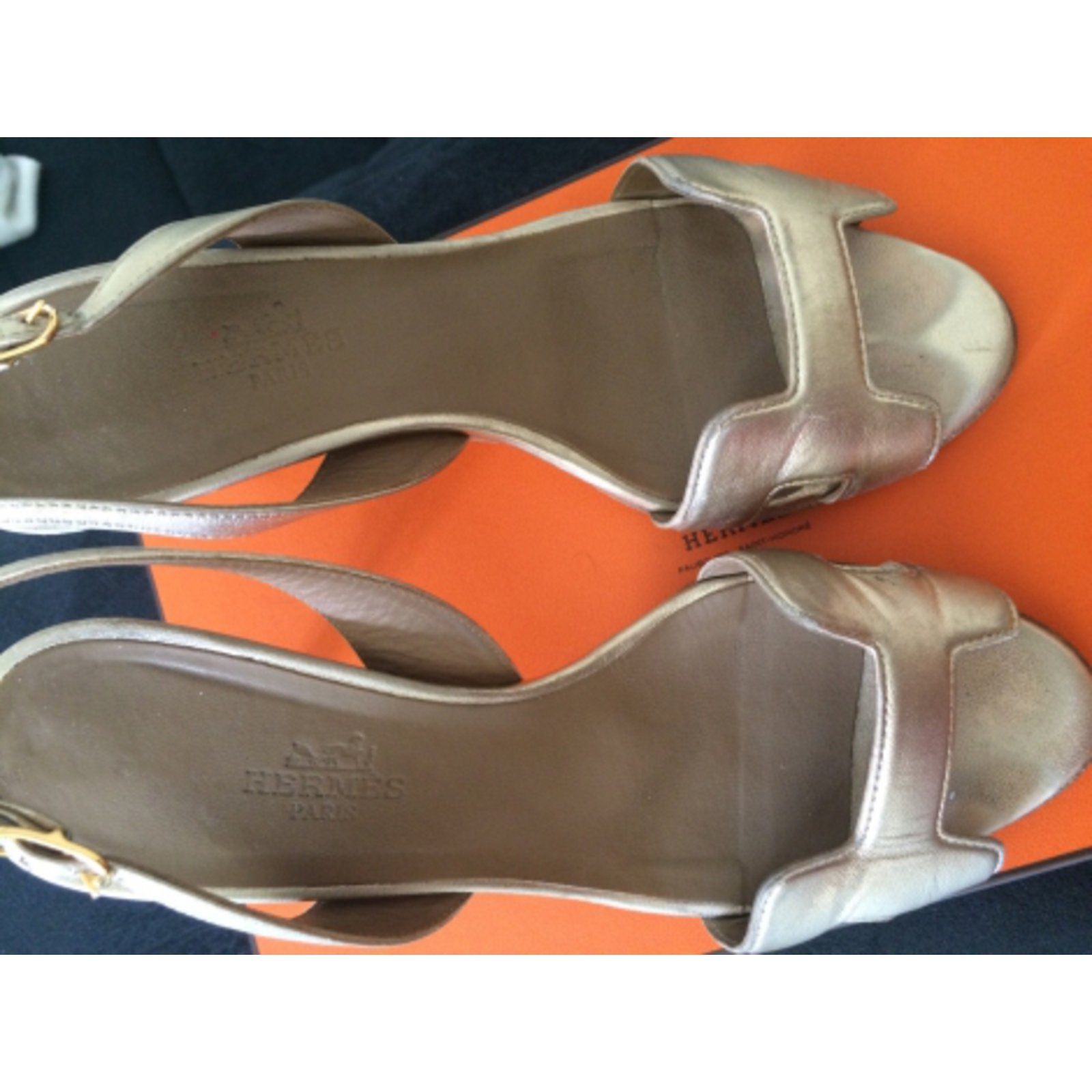 b76dd389c97 Facebook · Pin This. Hermès Sandals Sandals Leather Golden ref.5345