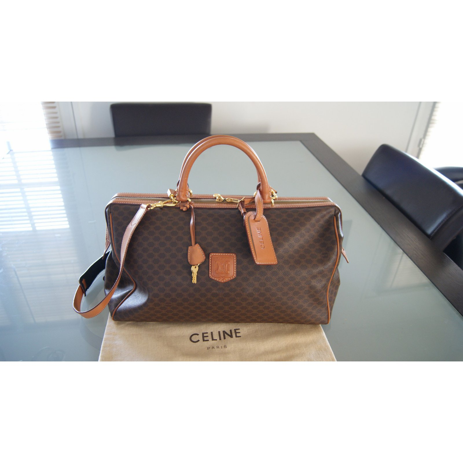 celine black leather travel bag