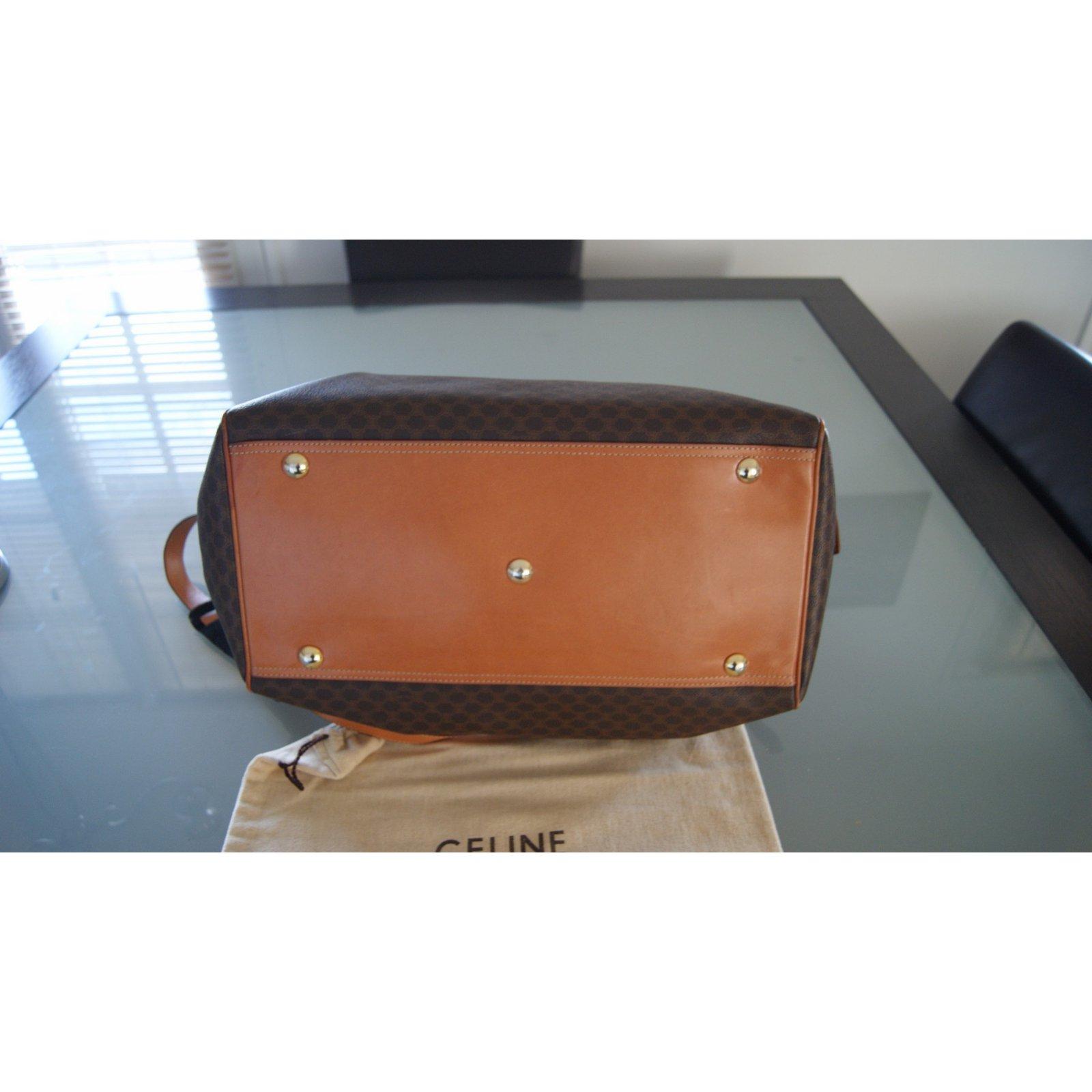 Travel bag C¨¦line Travel bag Cloth Brown ref.7258 - Joli Closet