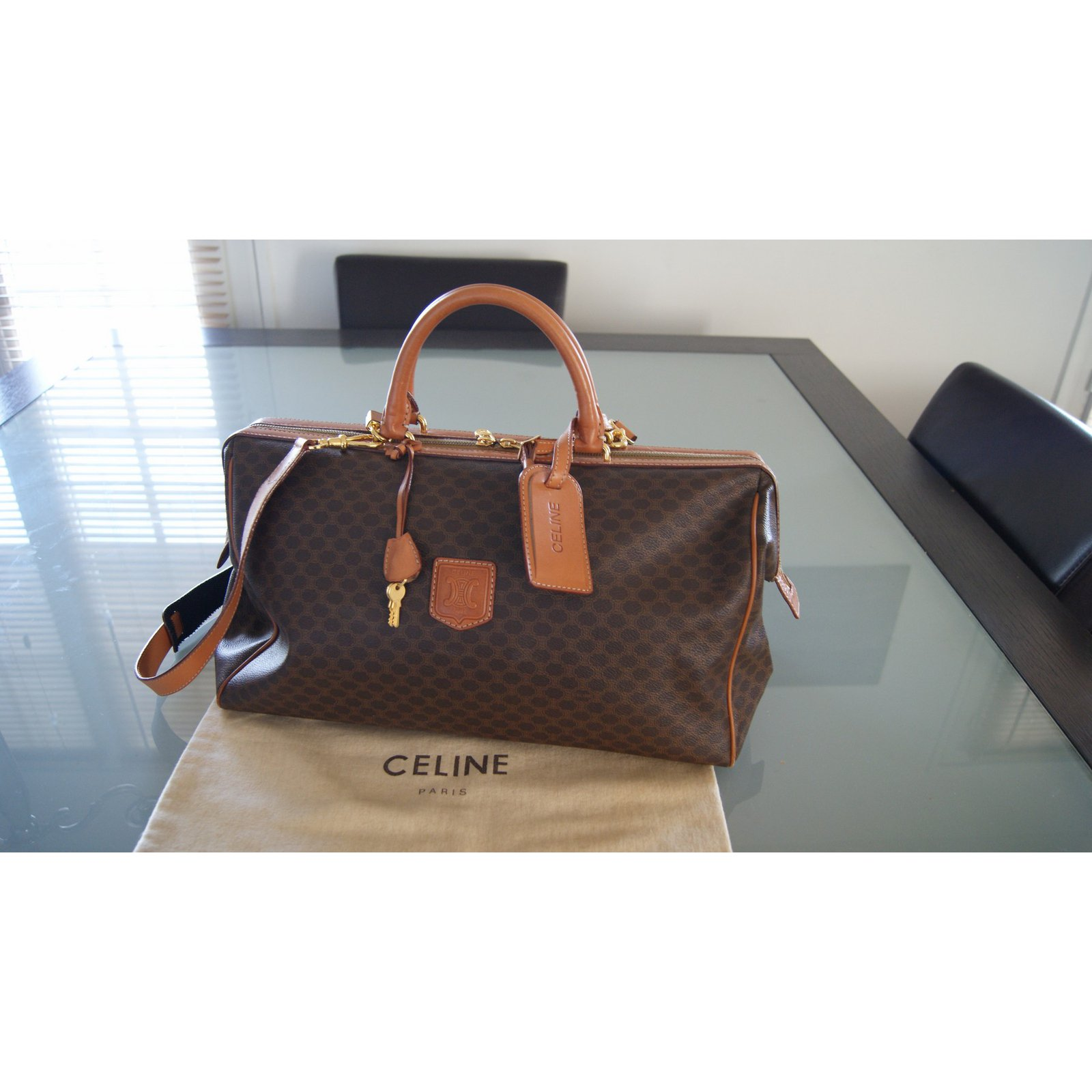celine brown cloth travel bag