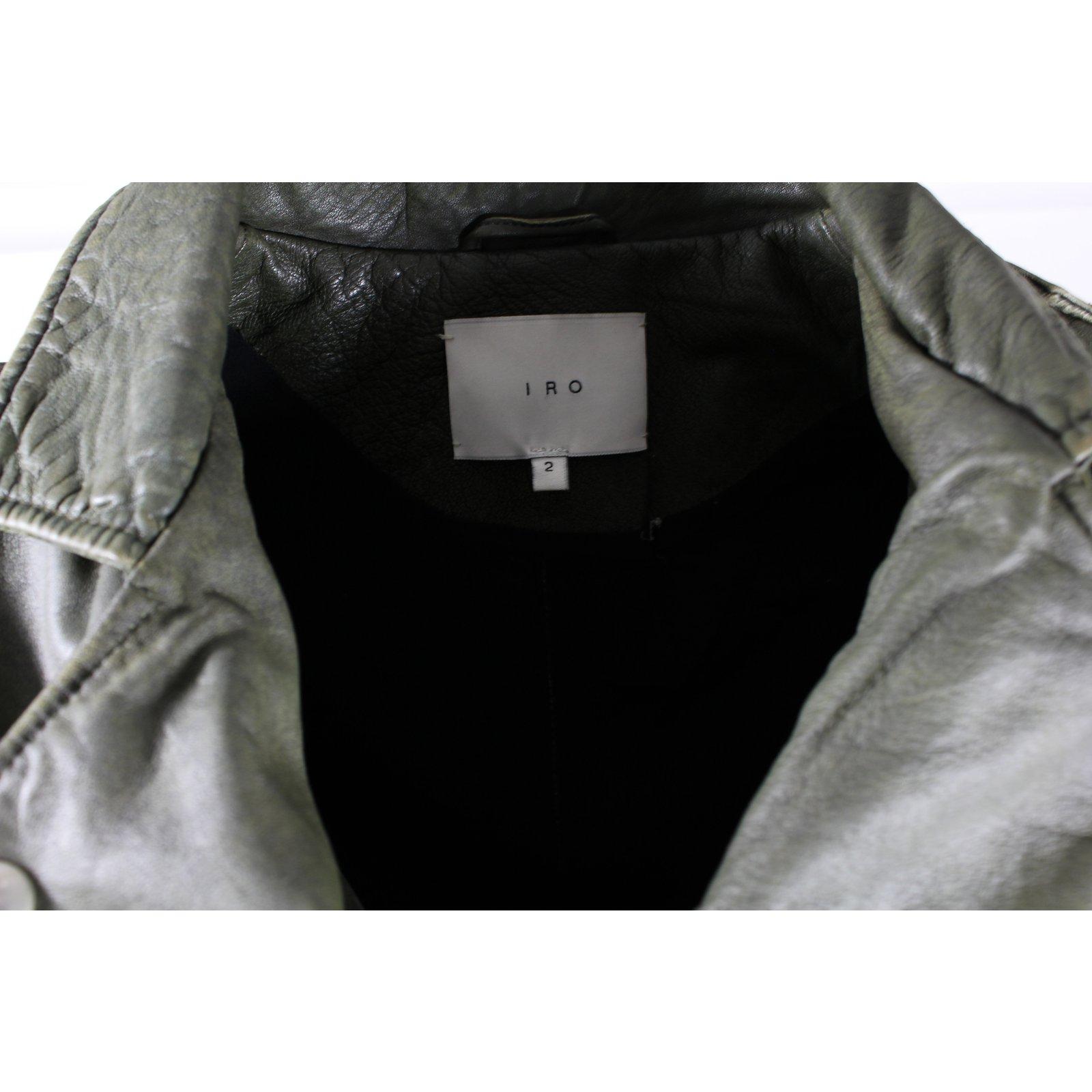 Vestes Iro Perfecto cuir Cuir Kaki ref.8718 Joli Closet