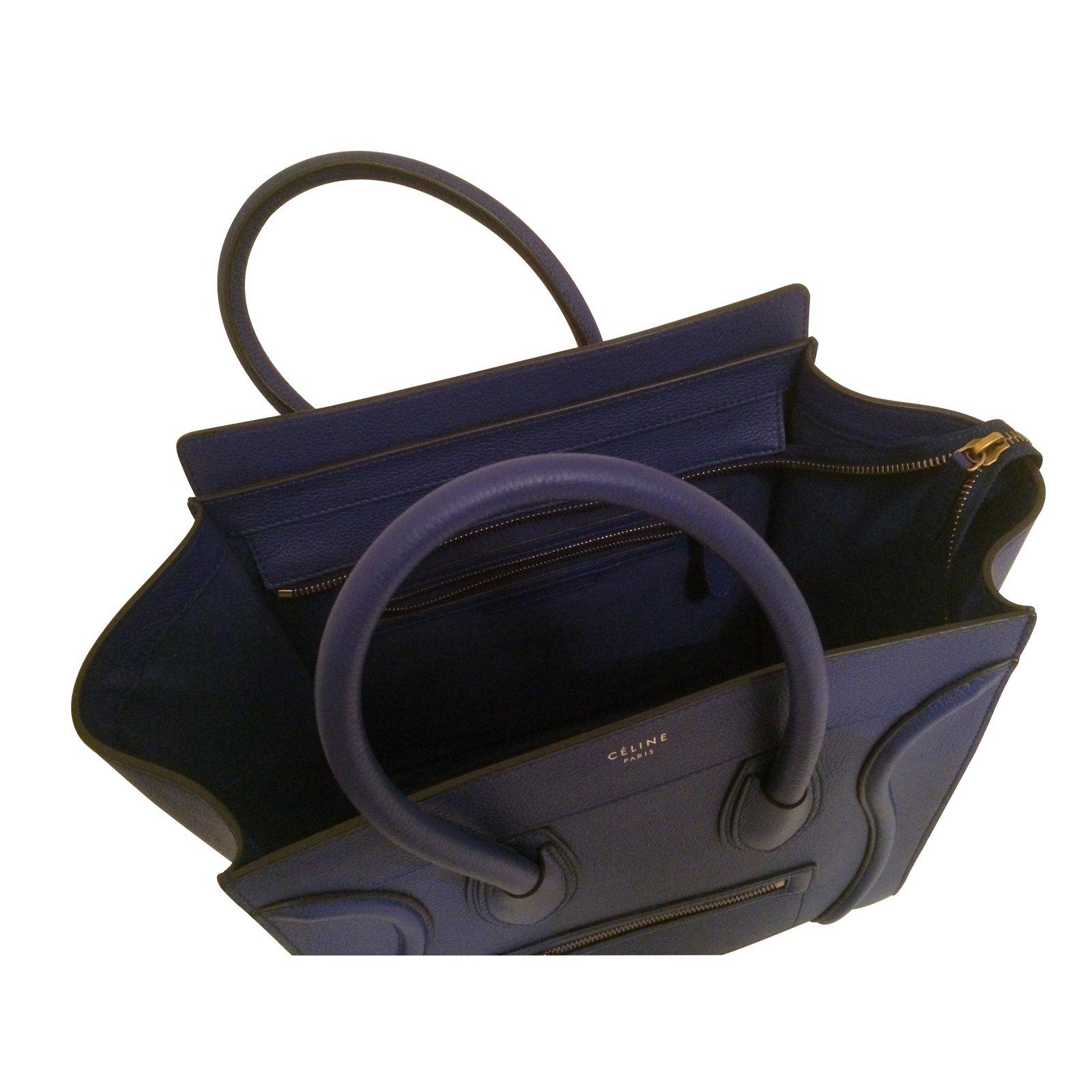 Sac à main Celine Luggage grand modèle en cuir bleu