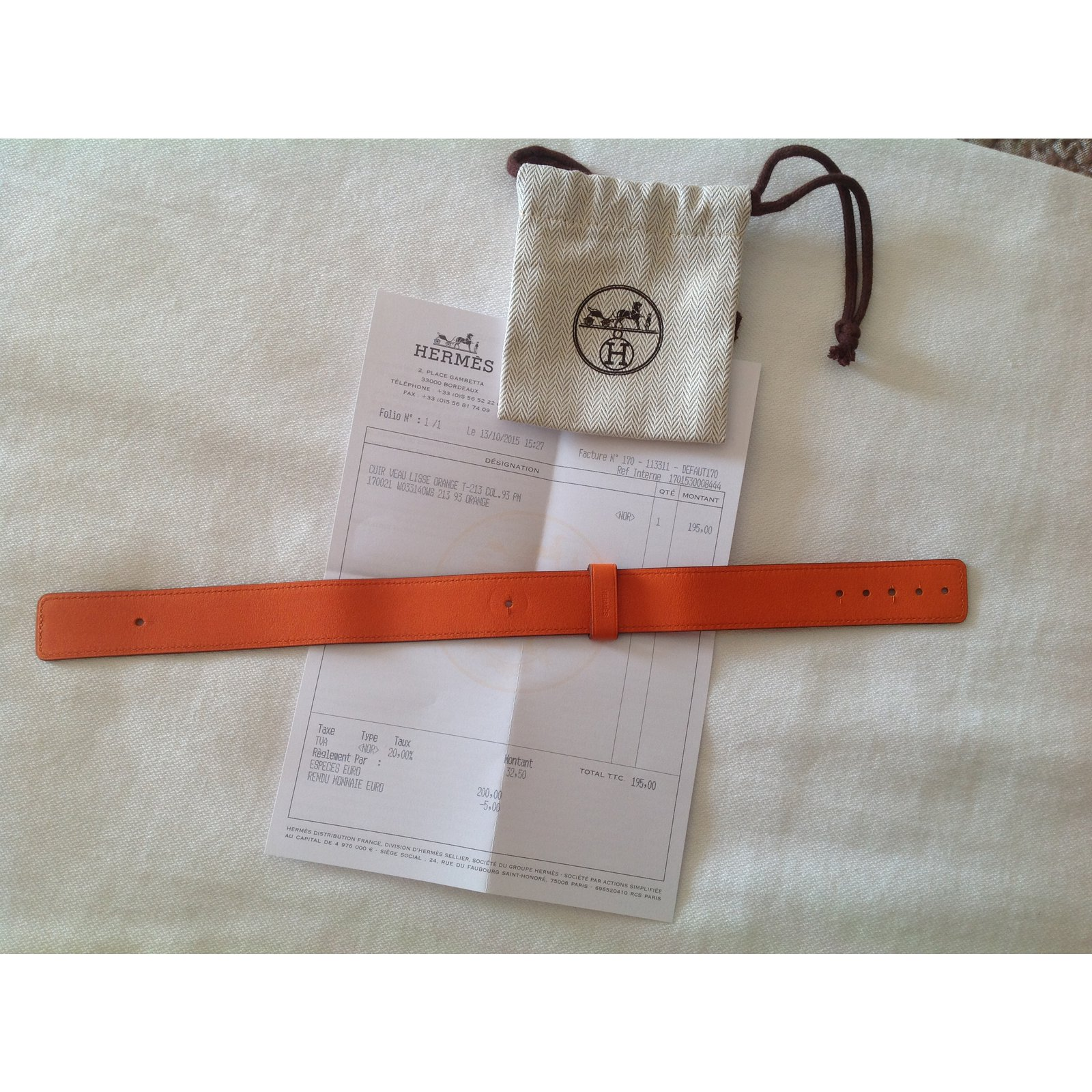 e3154fc300 Bracelets Hermès Bracelet montre Barenia Cuir Orange ref.12774 , Joli  Closet ...