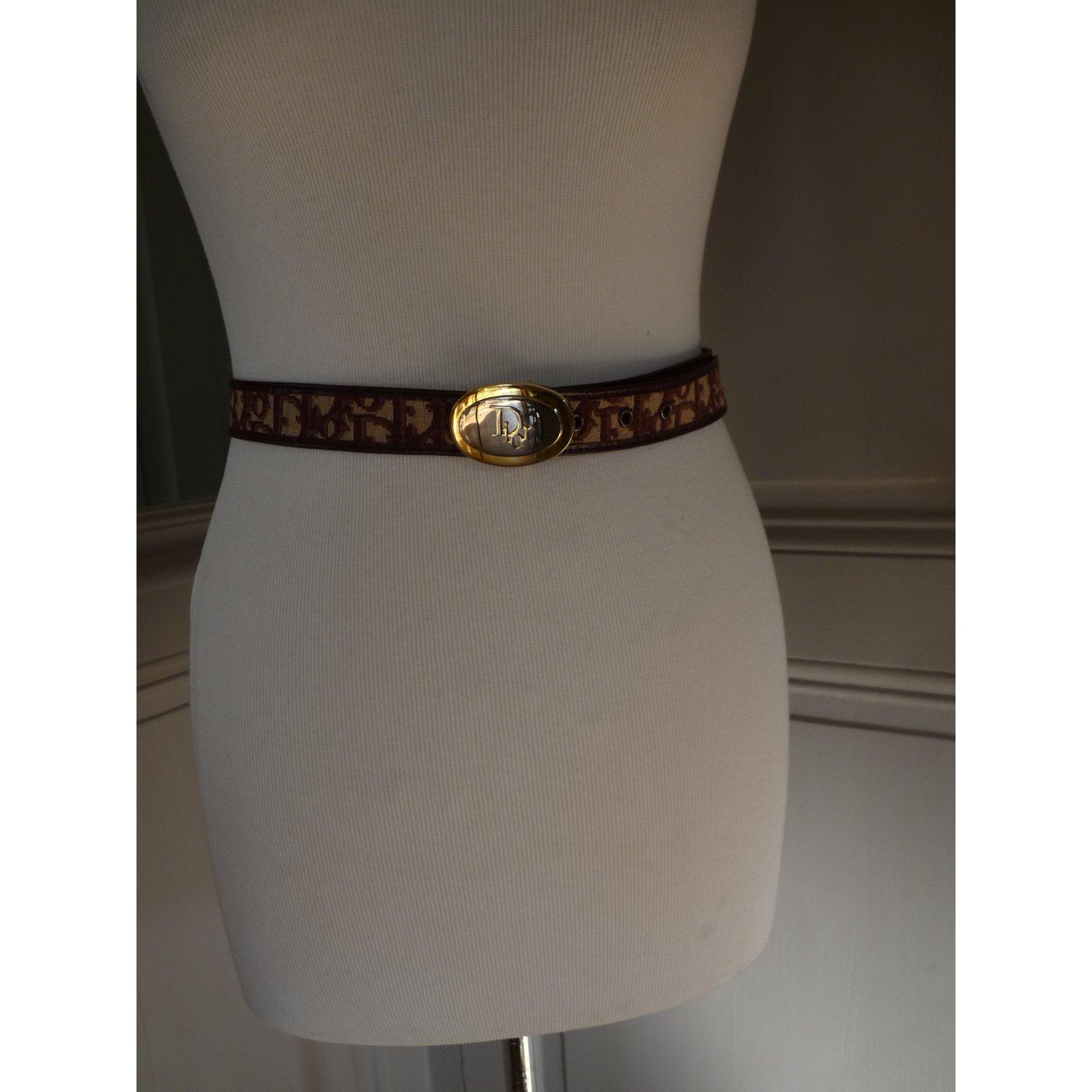 8edf0059d5b Ceintures Christian Dior ceinture monogrammée Toile Bordeaux ref.13672 -  Joli Closet