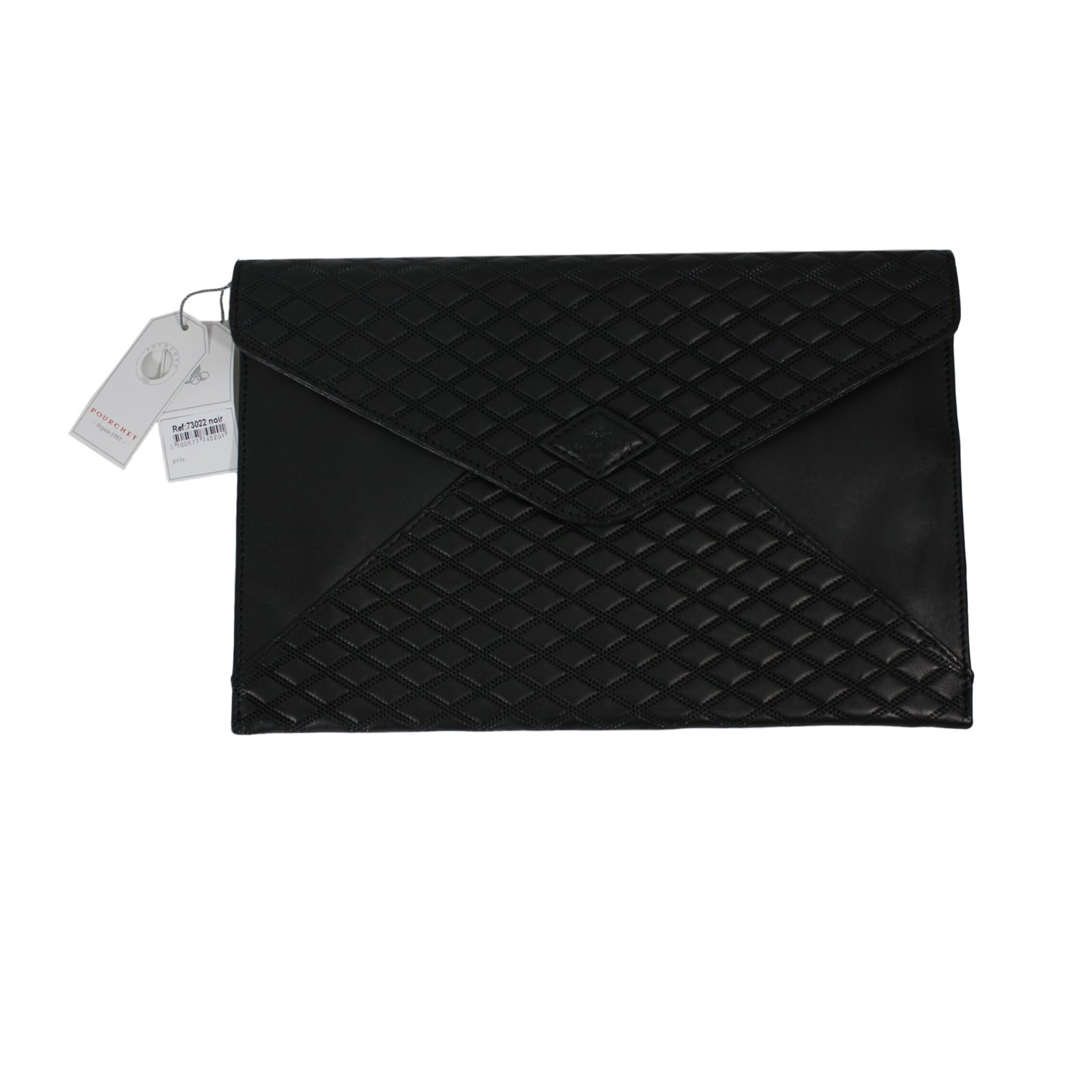 pochettes autre marque pochette pourchet cuir noir joli closet. Black Bedroom Furniture Sets. Home Design Ideas