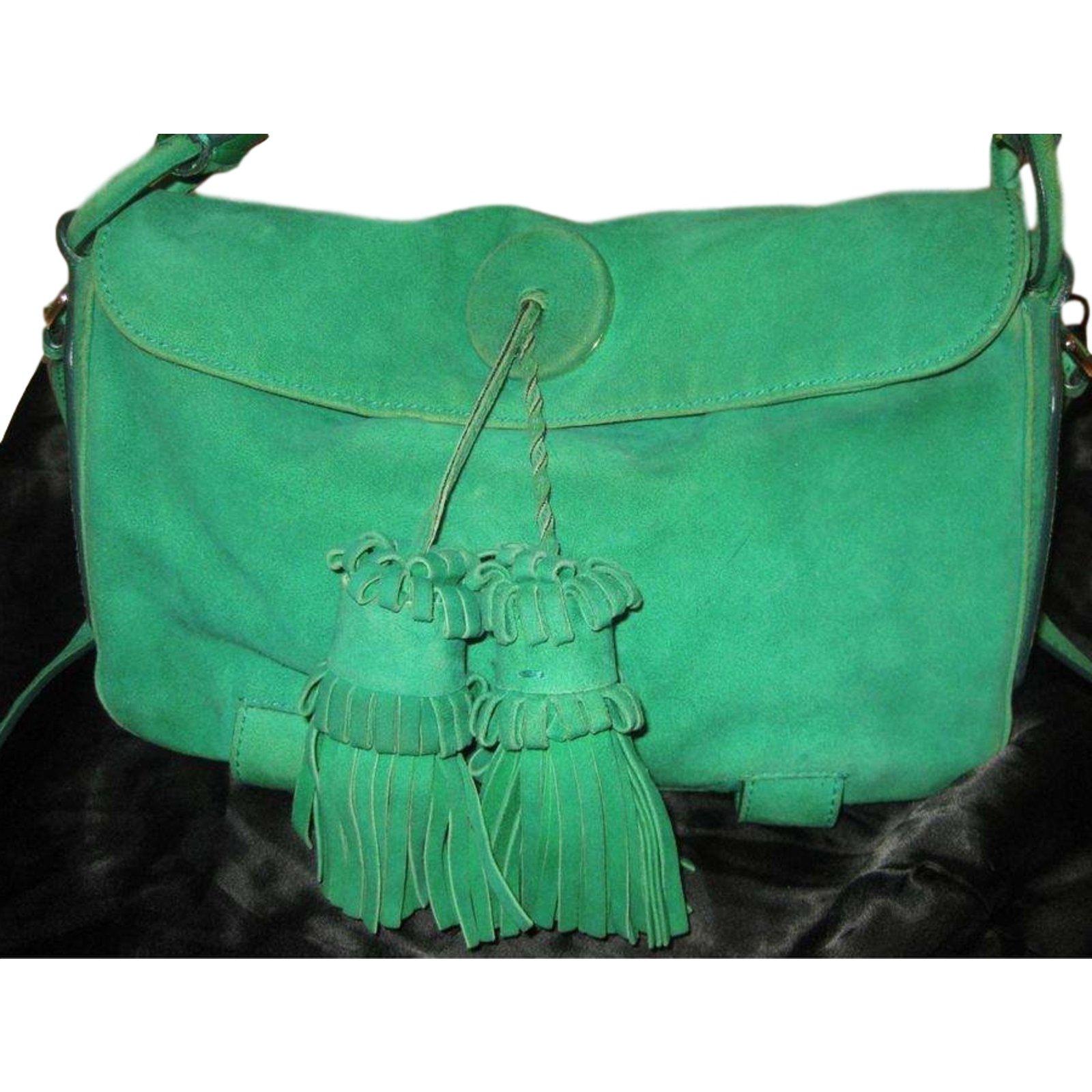 Yves Saint Laurent Handbags Handbags Deerskin Green ref.14719 - Joli Closet 98d0e1131f