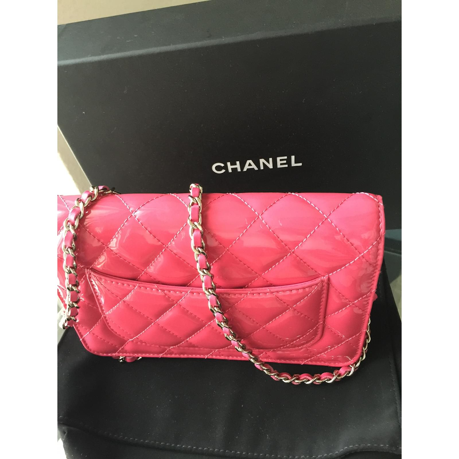 Chanel Pink Wallet On Chain Woc Clutch Bags Patent Leather Ref 16527 Joli Closet