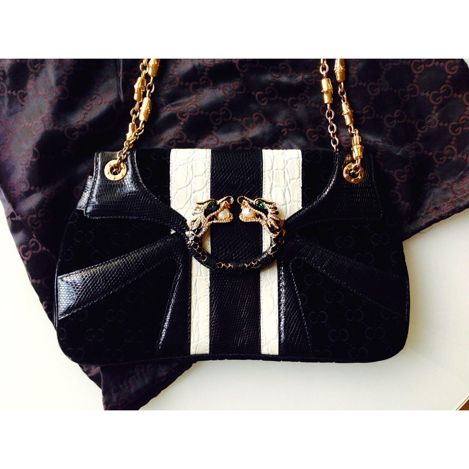27baee324 Gucci Dragon Bag by Tom Ford Handbags Exotic leather Black ref.16666 - Joli  Closet