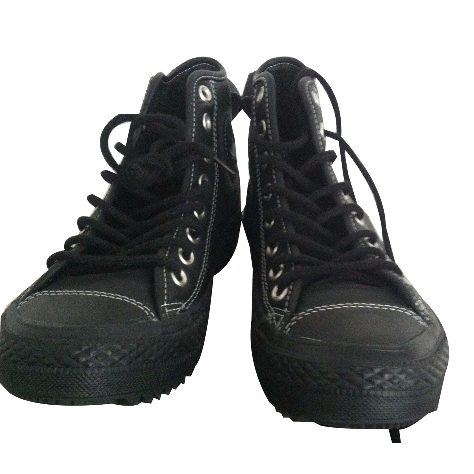 basket converse cuir noir femme