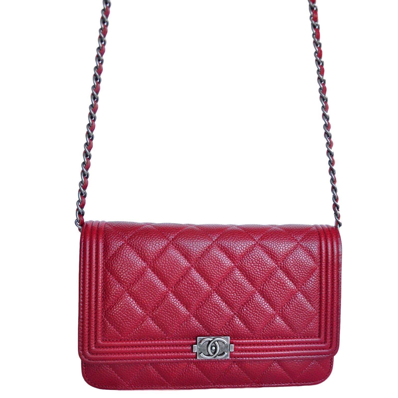48a43c8208ff Chanel WOC Wallet On Chain Clutch bags Leather Dark red ref.17444 - Joli  Closet