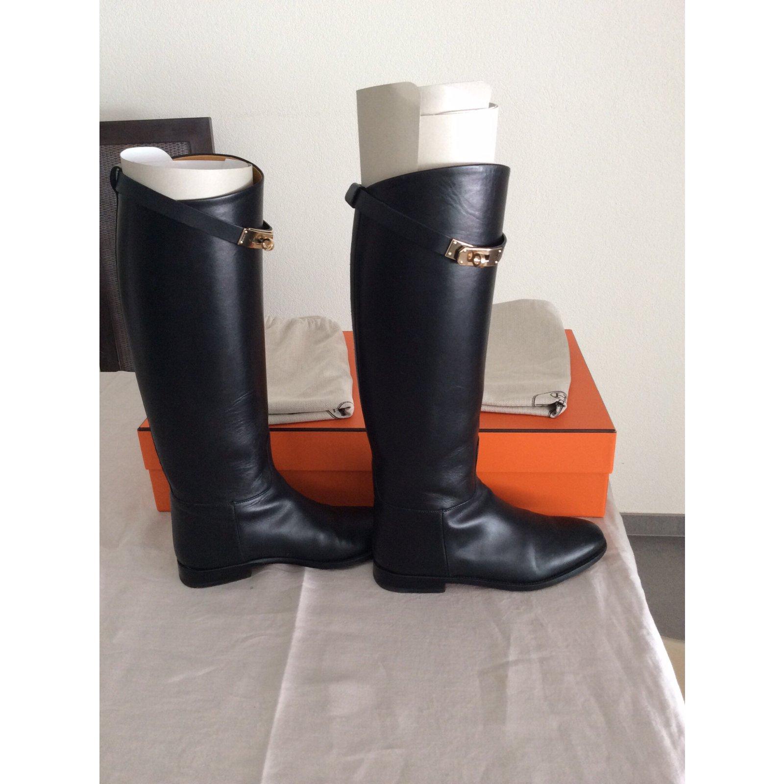 Bottes Hermès Paire de bottes Jumping Cuir Noir ref.17459 , Joli Closet
