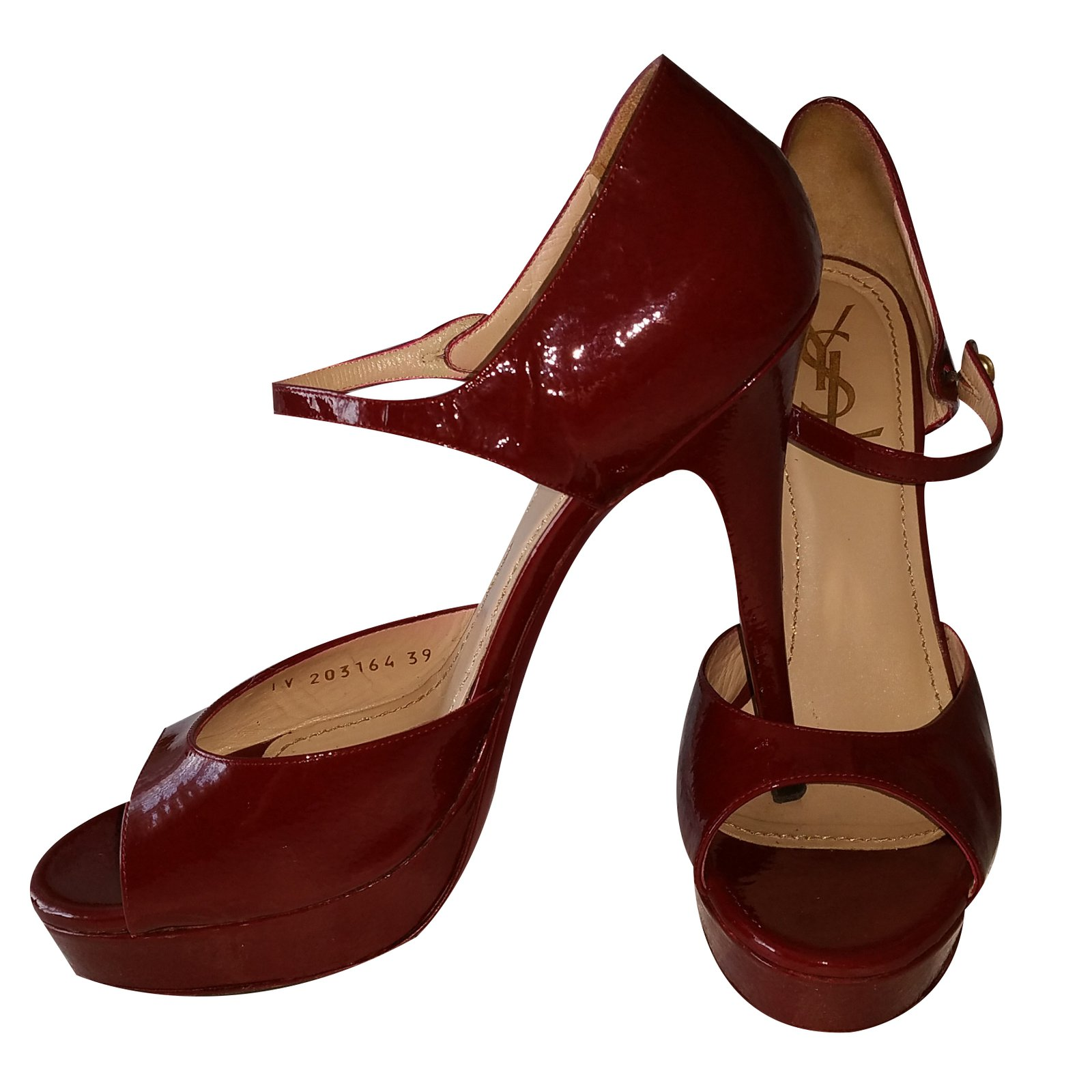 5eb257a5528cd Facebook · Pin This. Yves Saint Laurent Heels Heels Patent leather Dark red  ref.20112