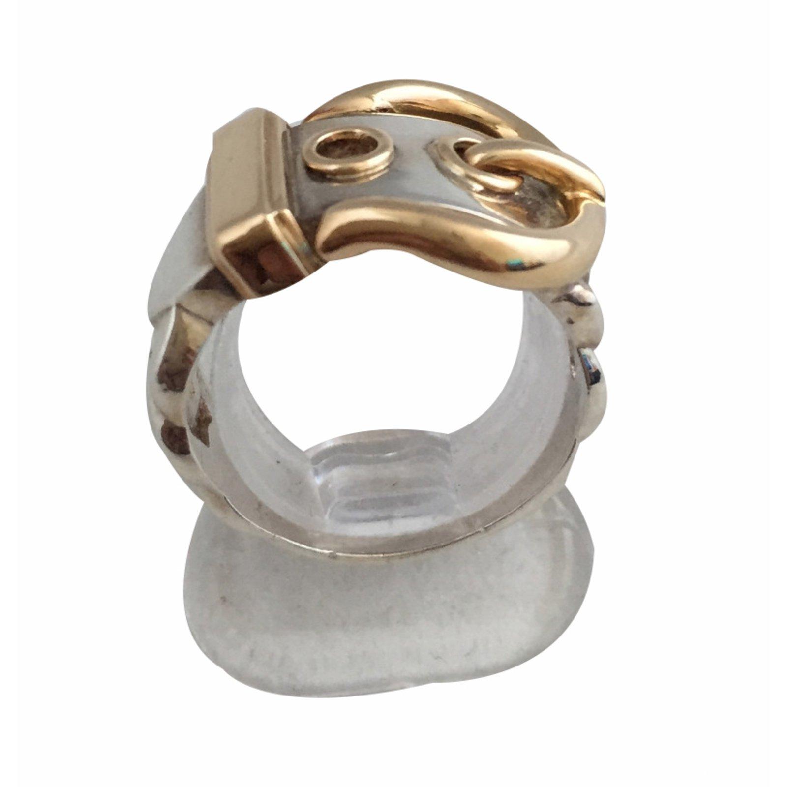 Bagues Hermès Boucle Ceinture Argent Argenté ref.20869 - Joli Closet eebb11acdc5