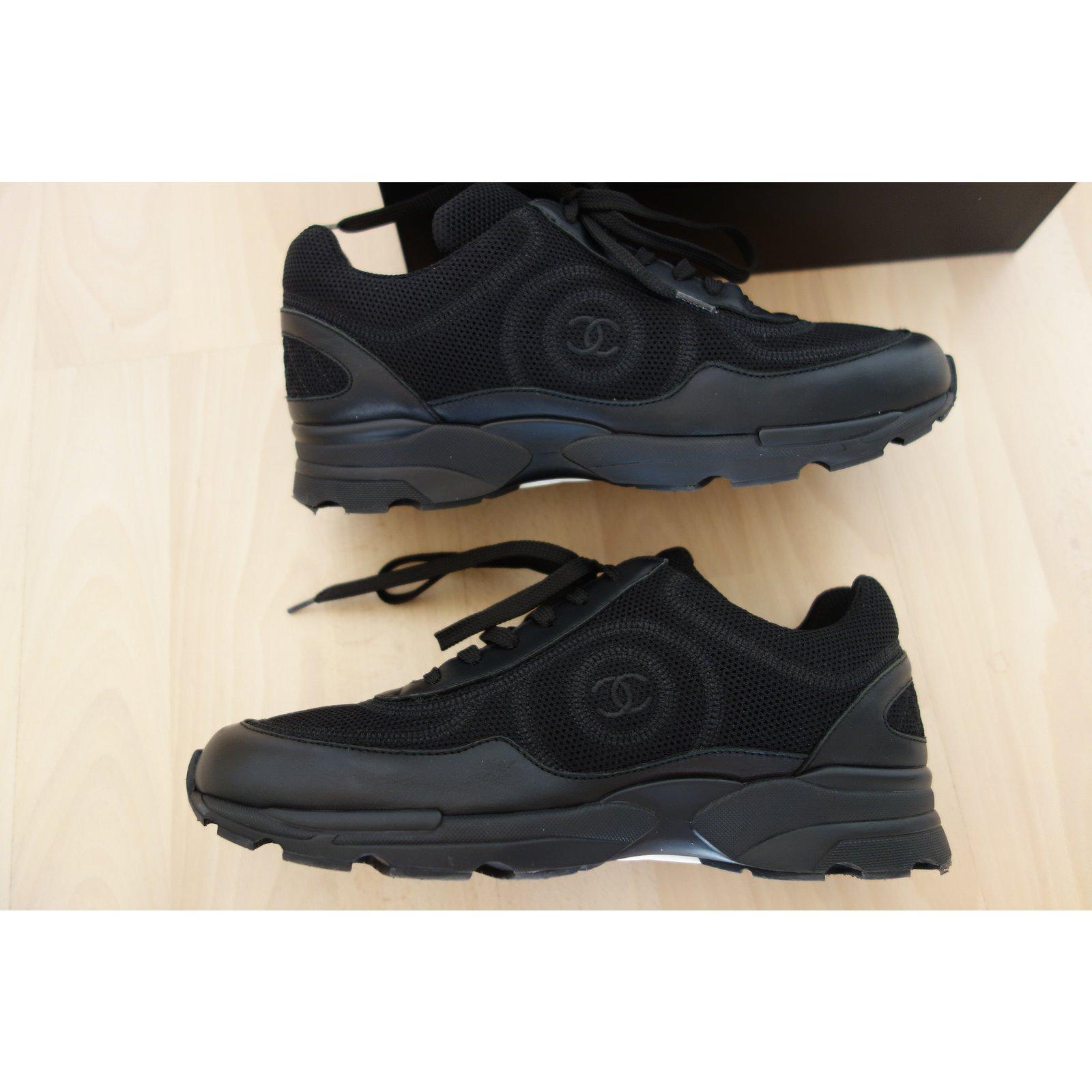 Baskets Chanel sneaker cuir et tissu CHANEL noir 39.5 Cuir Noir ref.21042 -  Joli Closet 555deda6a08
