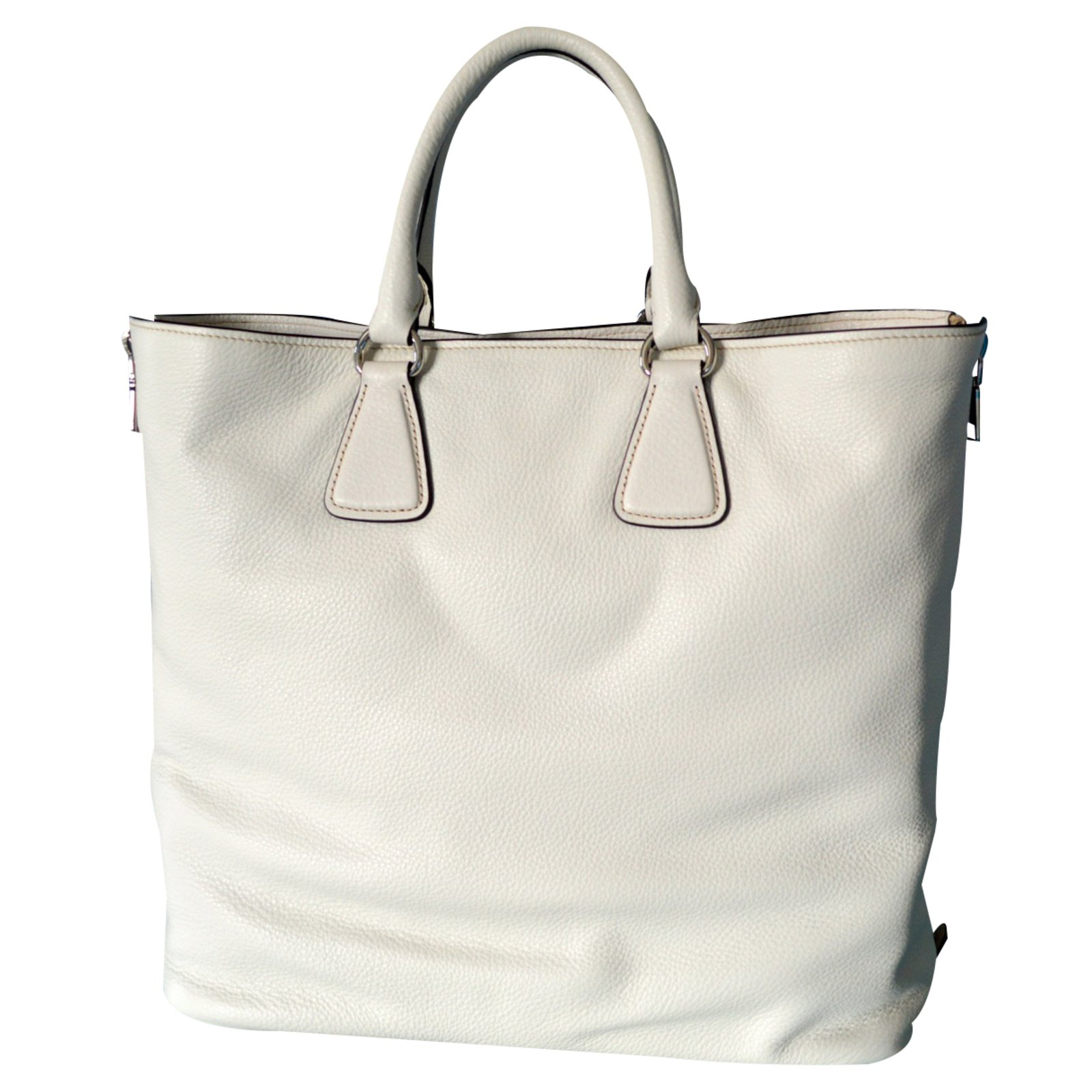... Prada Prada vitello phenix talco textured leather shopping tote bag  bn2419 original Handbags Leather White ref ... 9c342cad44