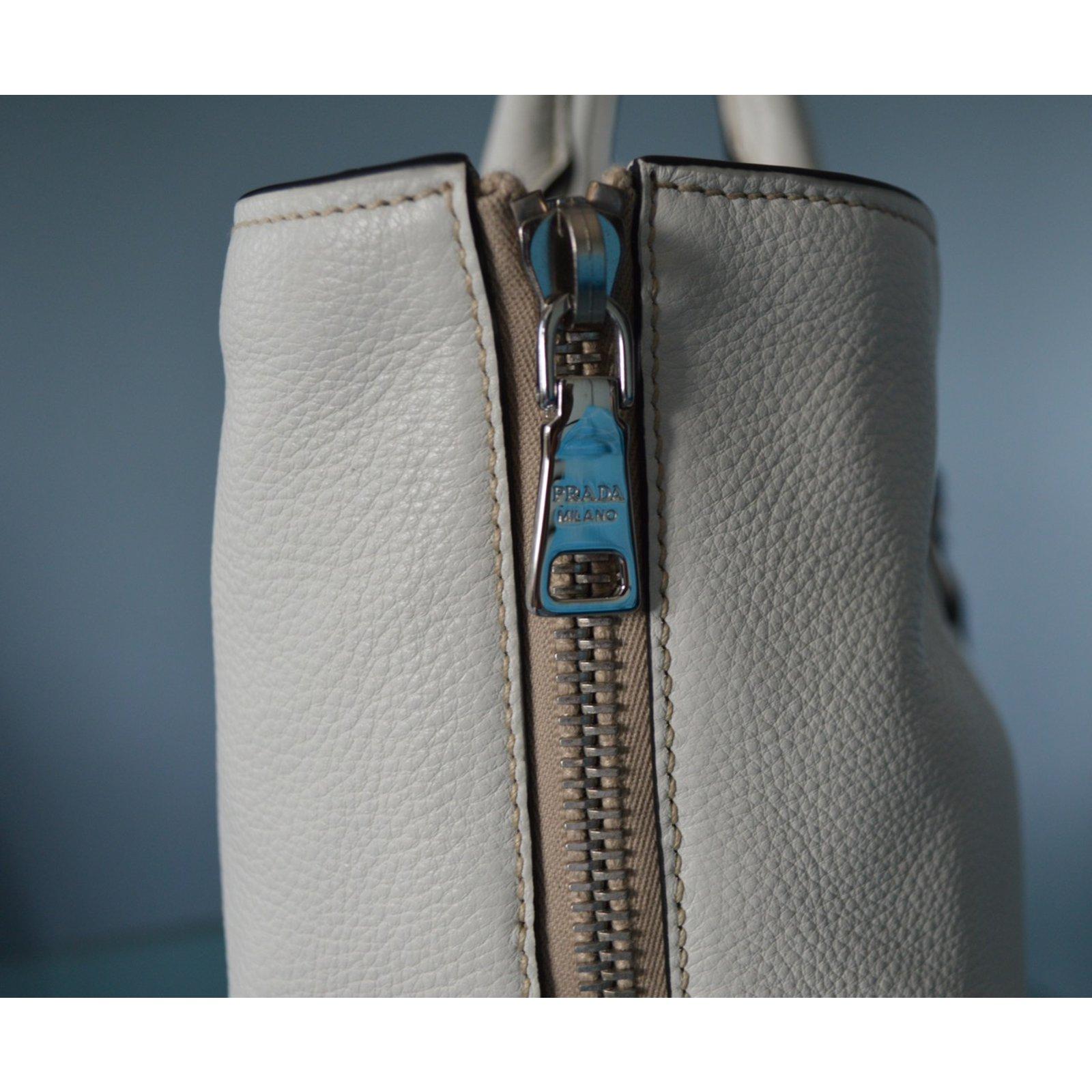 ... nylon Black ref.76590 - Joli C buy online 837eb  Prada Prada vitello  phenix talco textured leather shopping tote bag bn2419 original Handbags  Leather ... c50c5de75a