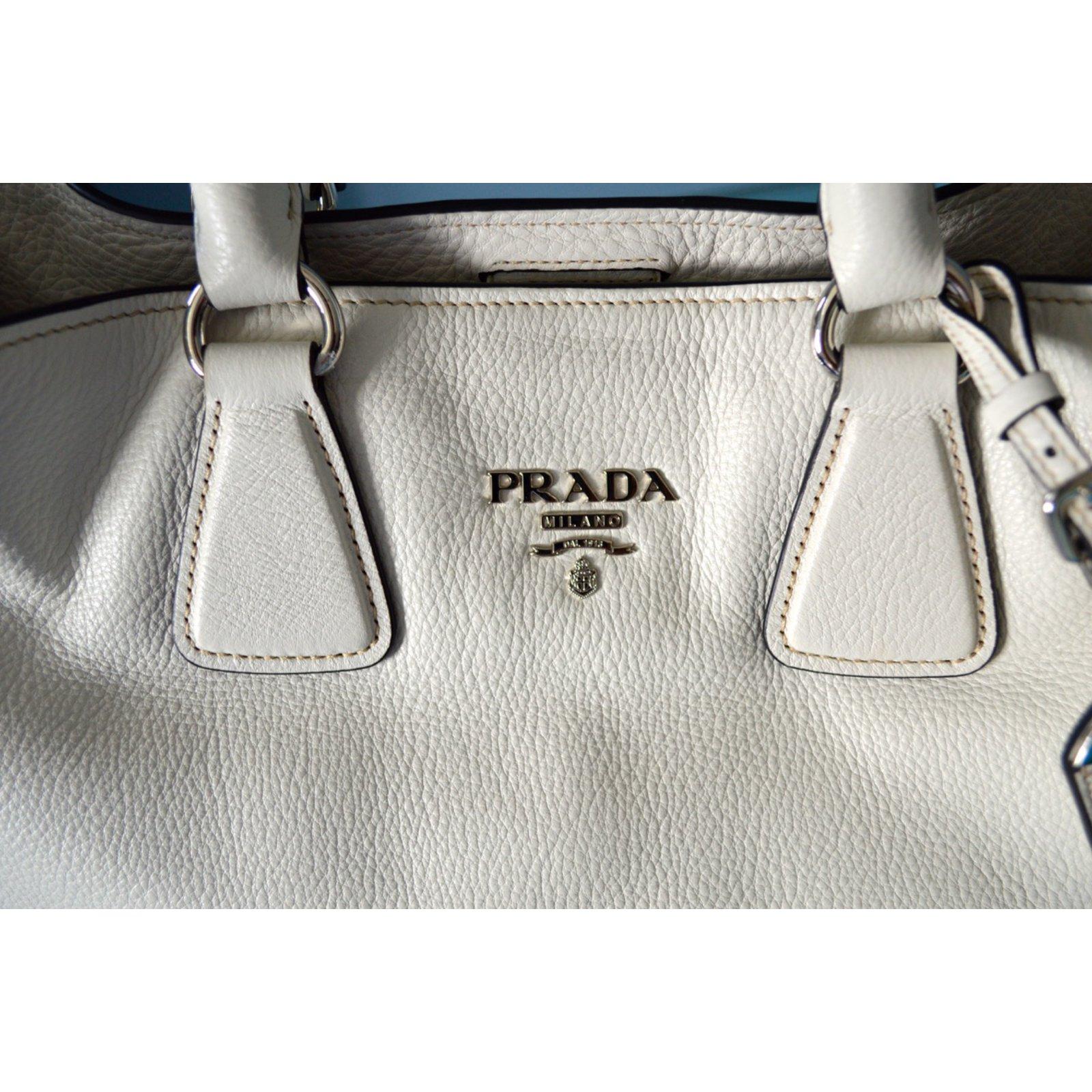 ... Joli Closet cheap for  Prada Prada vitello phenix talco textured  leather shopping tote bag bn2419 original Handbags Leather White ref  Prada  nylon ... 6e573c9cb9