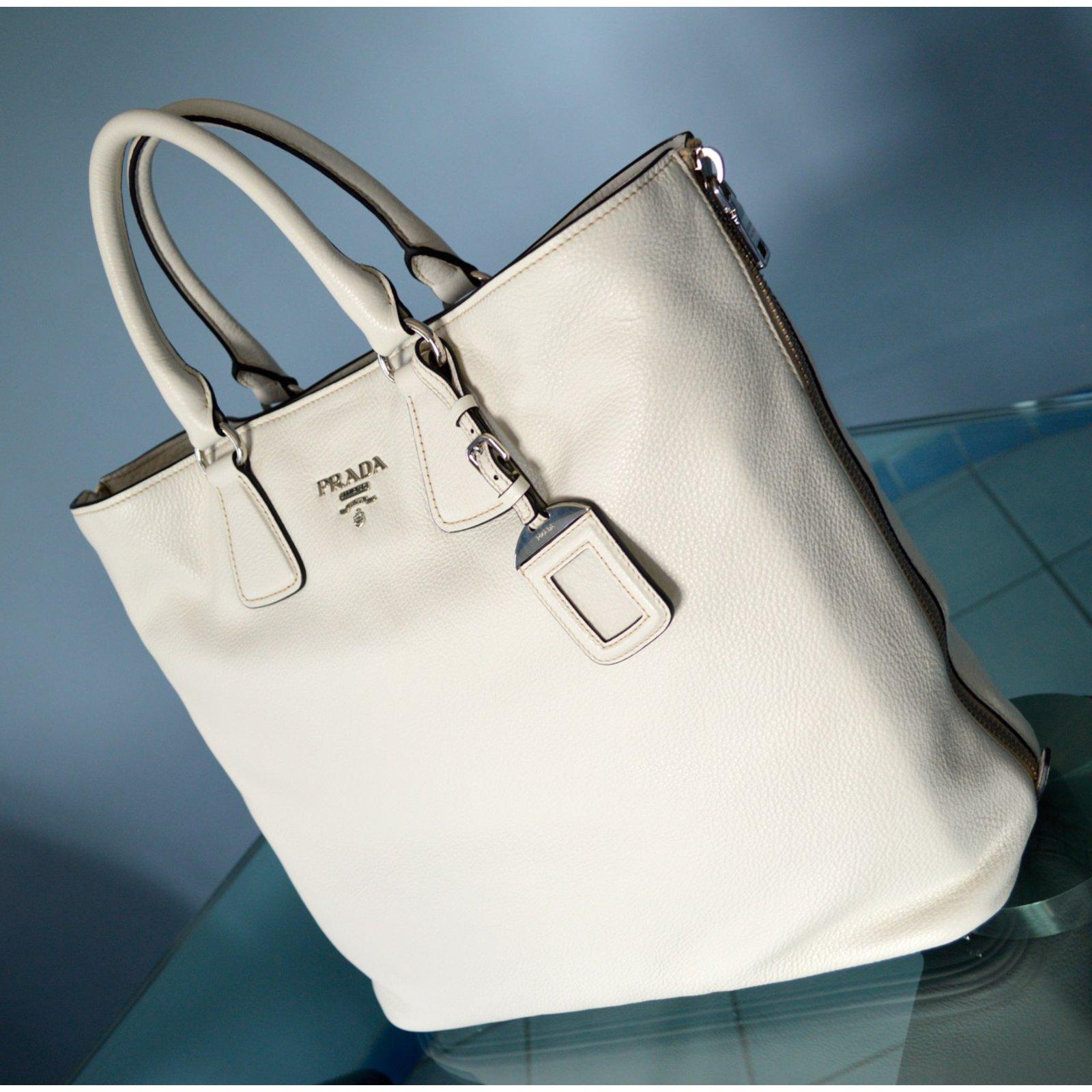 5c10542ef062 Prada Prada vitello phenix talco textured leather shopping tote bag bn2419  original Handbags Leather White ref.22022 - Joli Closet