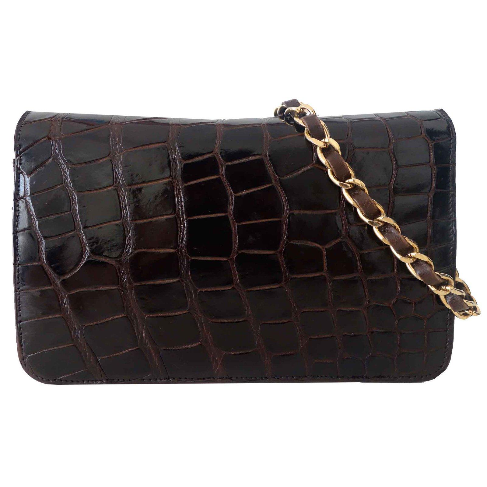 sacs main chanel sac vintage crocodile marron cuirs exotiques marron joli closet. Black Bedroom Furniture Sets. Home Design Ideas