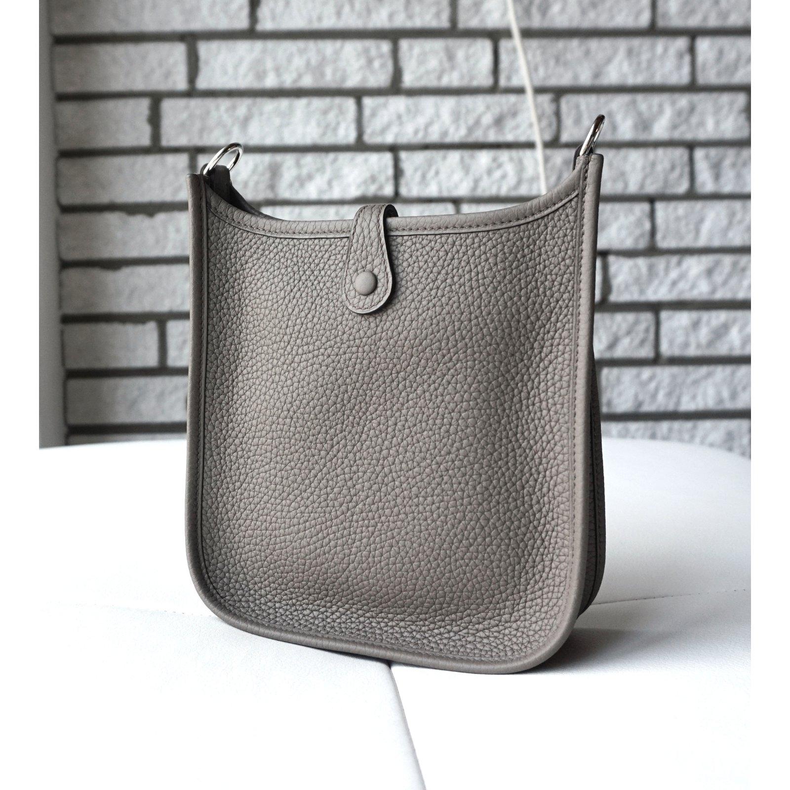 ebe79a1fac0a ... cheap hermès evelyne tpm handbags leather grey ref.22217 joli closet  ce42e 29a94